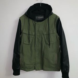 Hooded Field jacket with faux leather sleeves